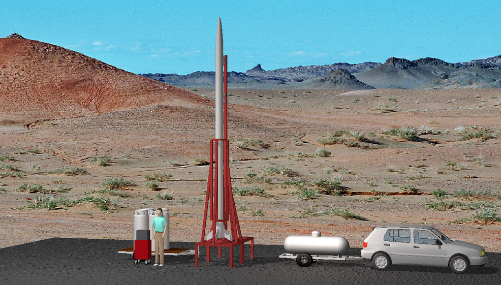 A rendering of what a Microlaunchers launch pad and rocket might look like. Image courtesy of Microlaunchers.