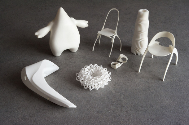 Objects printed on a Norge SLS 3D printer. Photo courtesy of Norge.