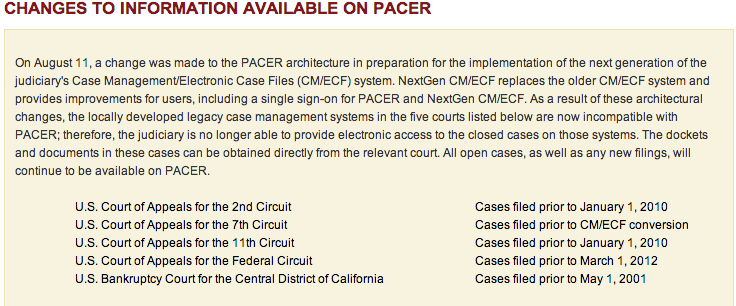 PACER notice