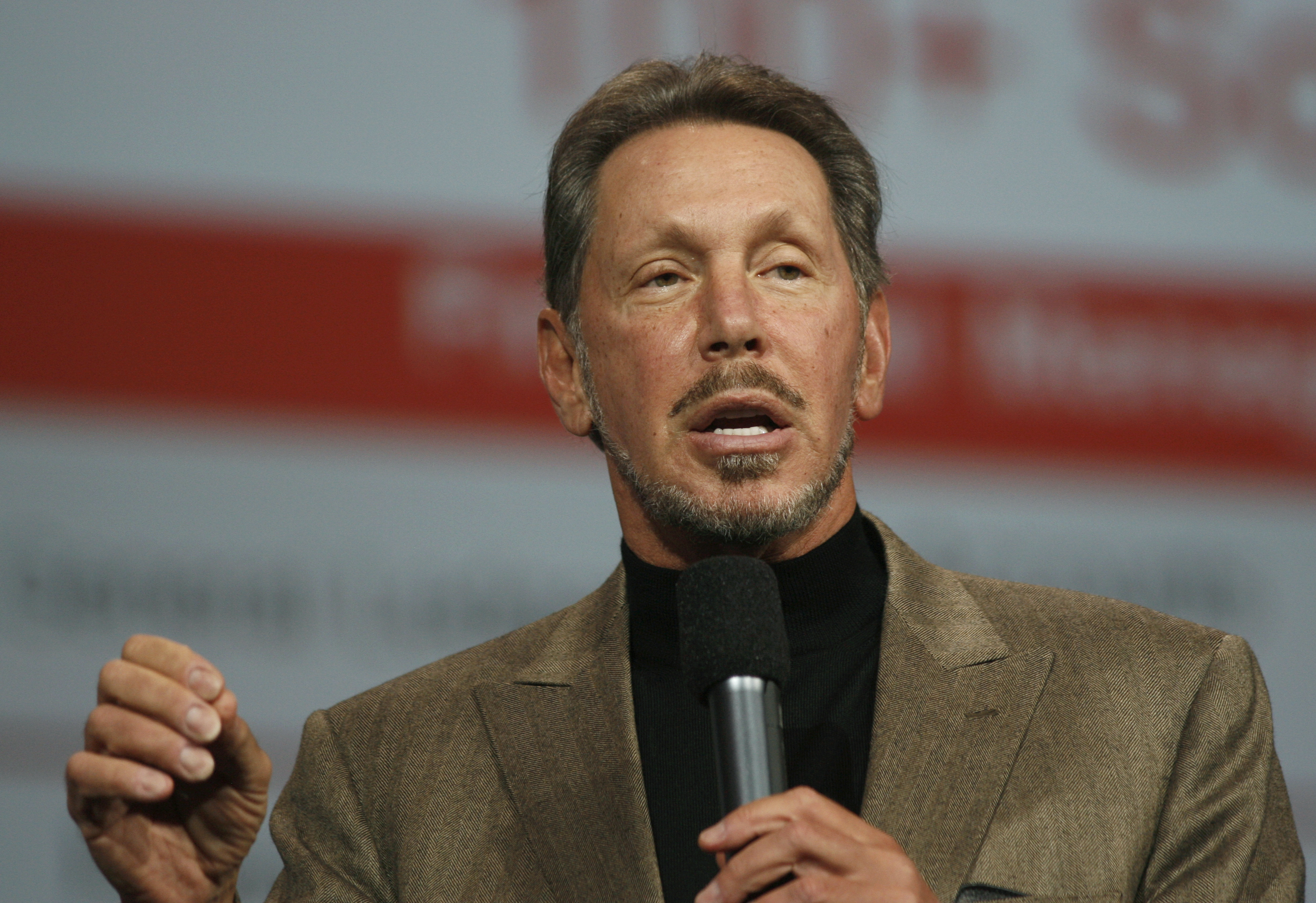 Oracle CEO Larry Ellison delivers a keynote at the Moscone Center in San Francisco during the Oracle OpenWorld 2011 on October 5, 2011 in California. (Photo by Kimihiro Hoshino/AFP/Getty Images)