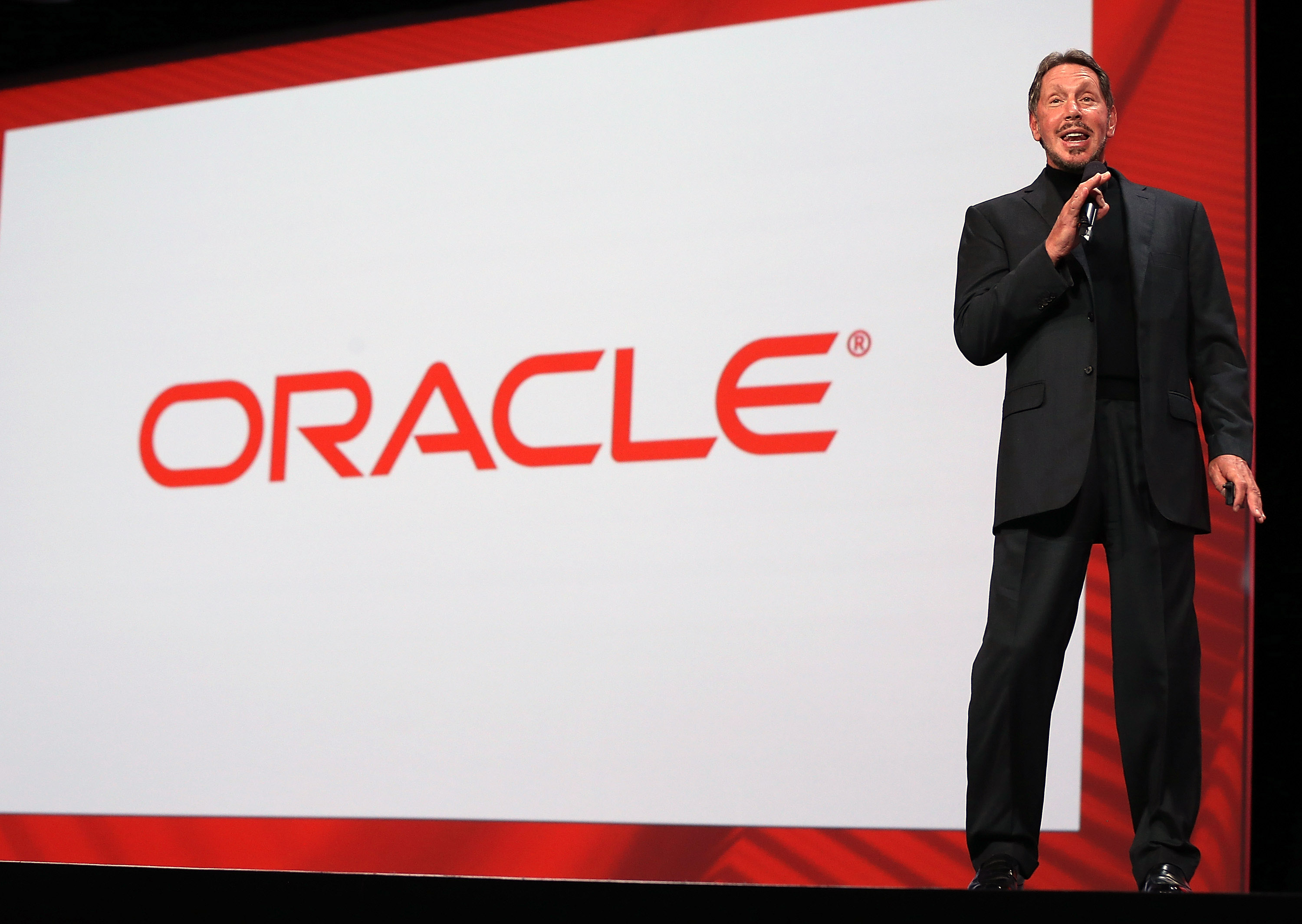Oracle CEO Larry Ellison delivers a keynote address during the 2012 Oracle Open World conference on September 30, 2012 in San Francisco, California. (Photo by Justin Sullivan/Getty Images)
