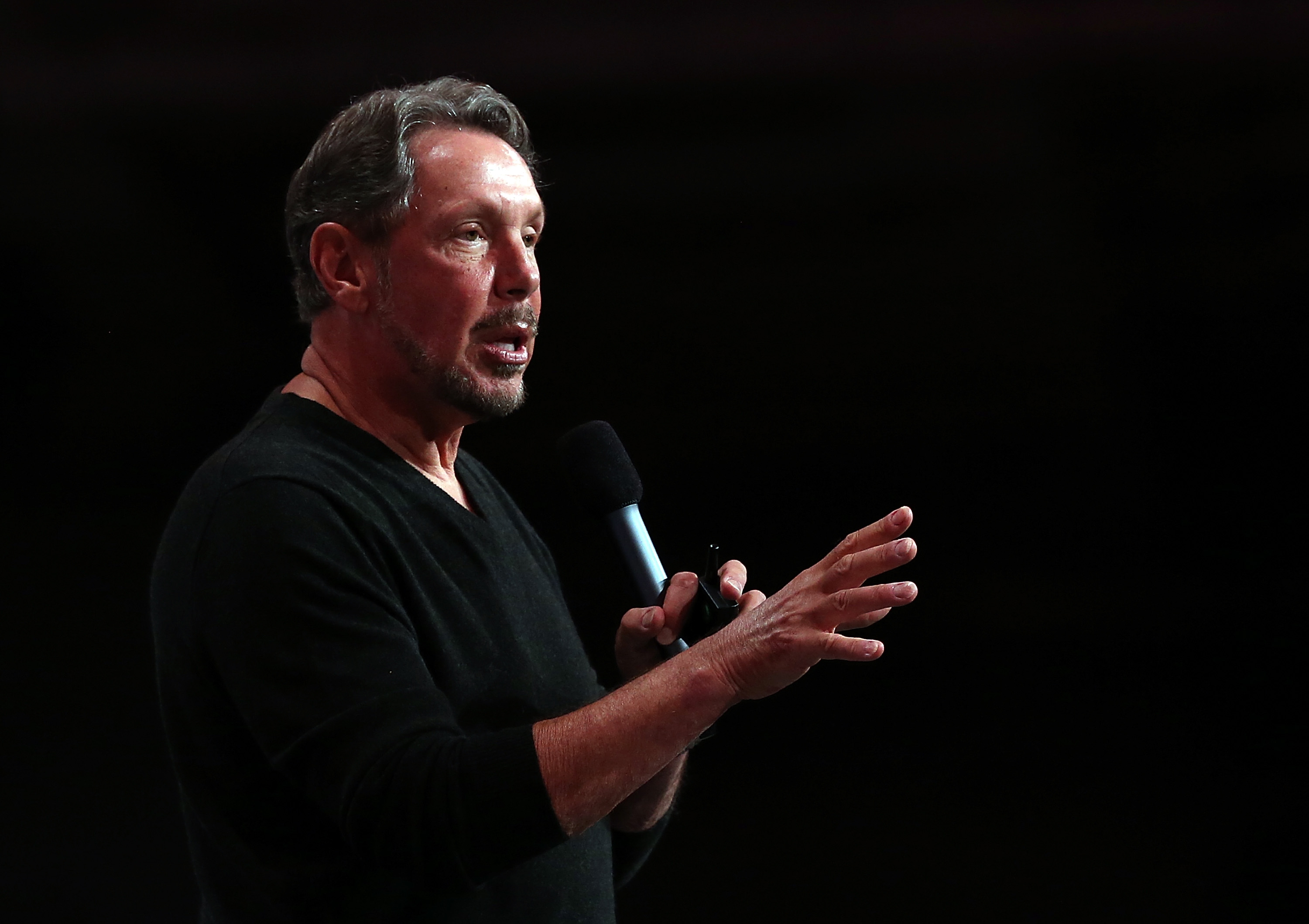 Oracle CEO Larry Ellison delivers a keynote address during the 2013 Oracle Open World conference on September 22, 2013 in San Francisco, California. (Photo by Justin Sullivan/Getty Images)