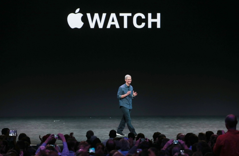 Apple CEO Tim Cook announces the Apple Watch during an Apple special event.