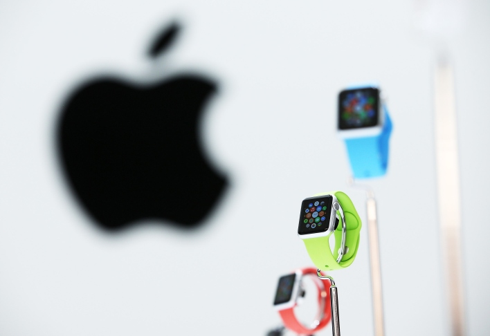 The new Apple Watch is displayed during an Apple special event.  (Photo by Justin Sullivan/Getty Images)