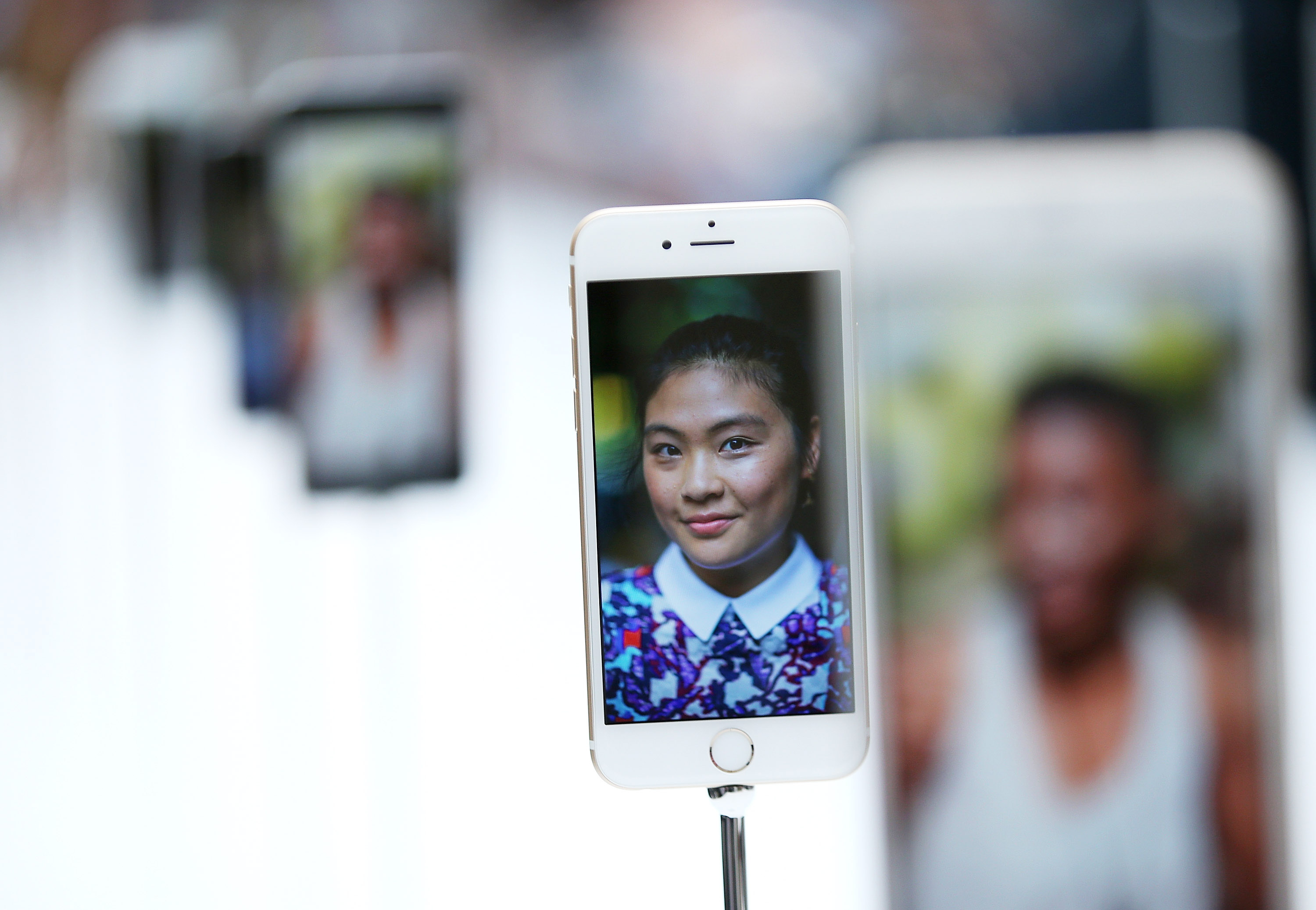 The new iPhone 6 is displayed during an Apple special event.  (Photo by Justin Sullivan/Getty Images)