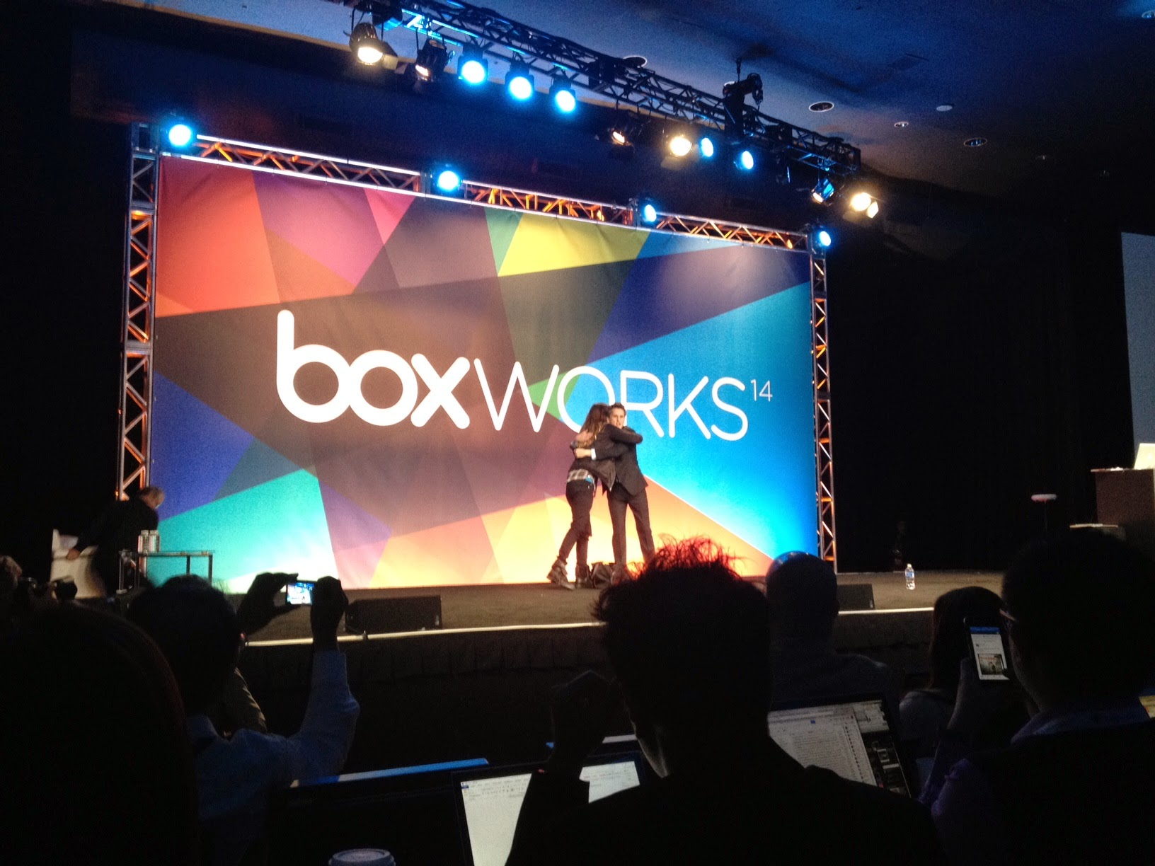 Box CEO Aaron Levie hugs actor Jared Leto onstage at BoxWorks 2014. Photo by Jonathan Vanian/Gigaom