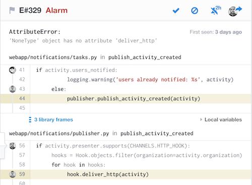Opbeat error-tracking interface