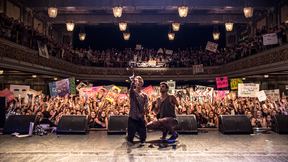 Jack and Jack pose in front of their fans at The Regency in San Francisco on August 29th, 2014