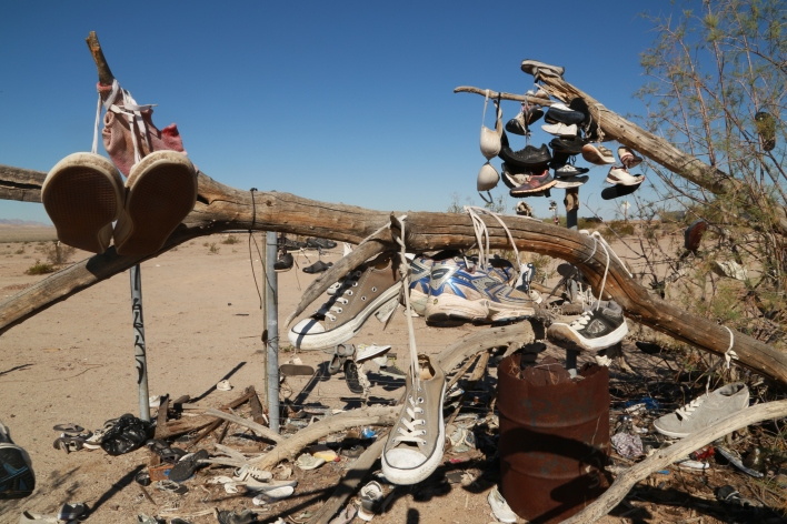 A spot off the highway where people throw their old shoes in Imperial Valley. Image courtesy of Katie Fehrenbacher, Gigaom.