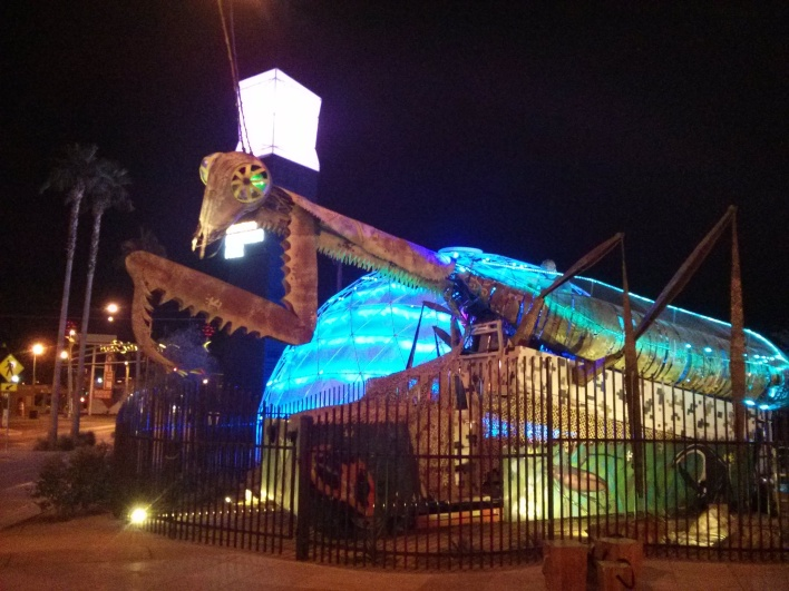 The giant, flame-throwing mantis outside the Container Park mall was kinda cool. Will it also be short-lived?