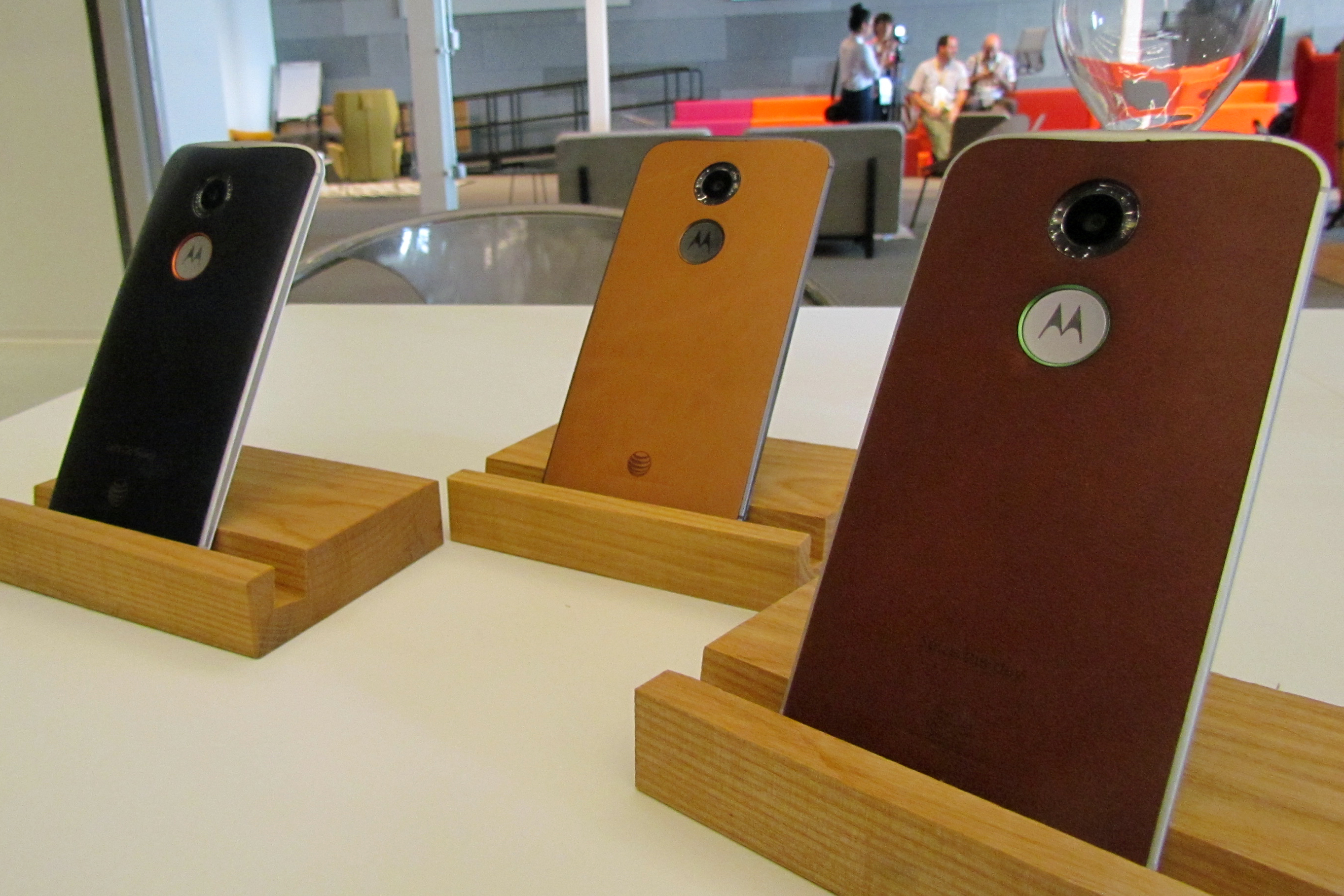 The Moto X's new leather backs (Photo by Kevin Fitchard/Gigaom)