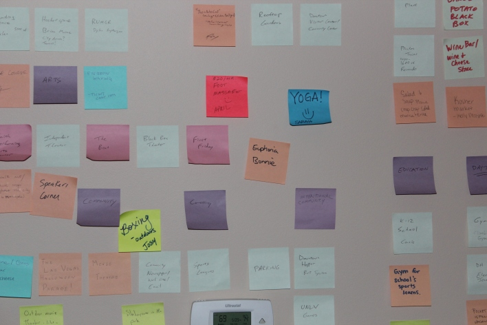 A wall of Downtown Project ideas, on Post-It Notes, in early 2012.