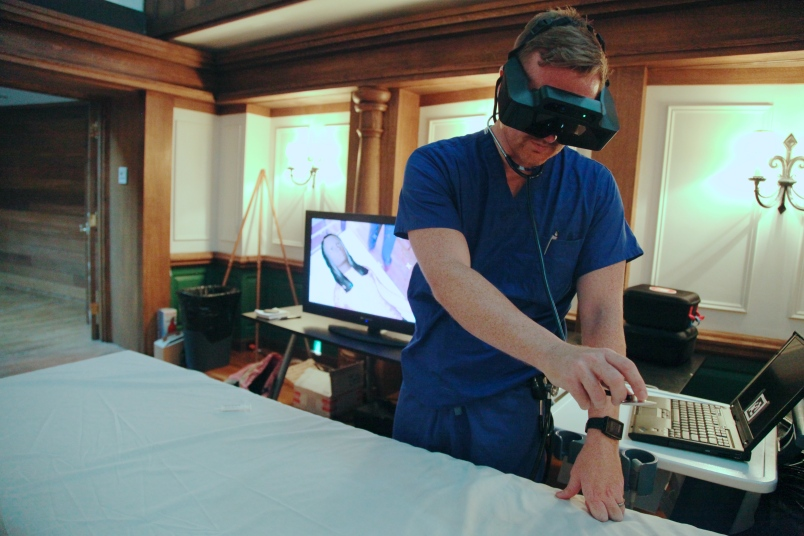SimX CEORyan Ribeira checks on a virtual patient. Photo by Signe Brewster