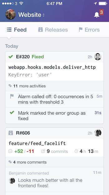 Opbeat iOS feed