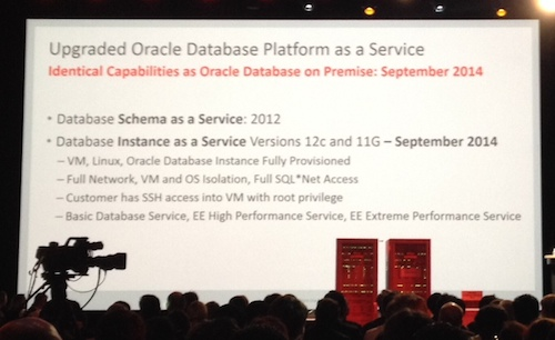 Oracle database and PaaS