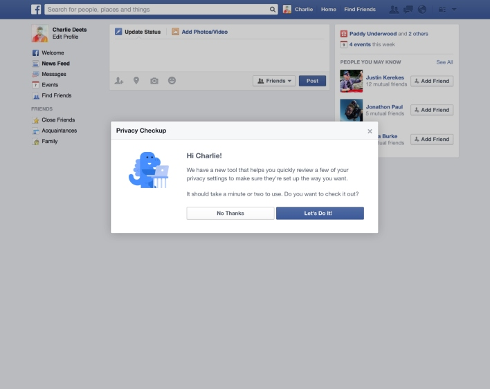Facebook's privacy dinosaur pops up to prompt you to take the check-up.