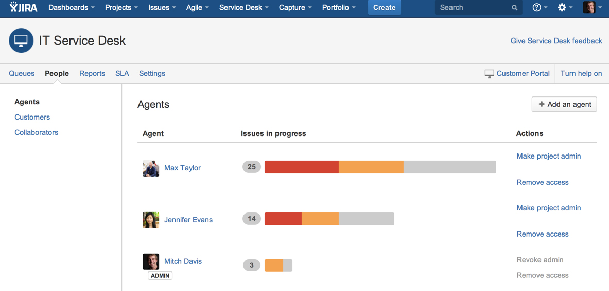 Jira Service Desk 2.0 agent management
