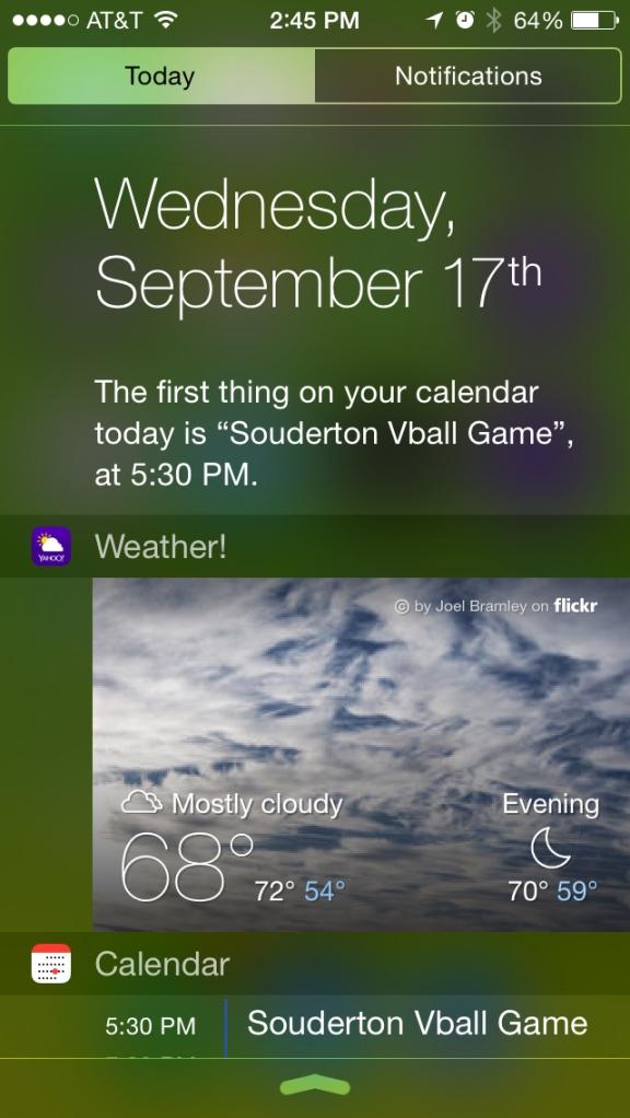 yahoo weather widget in notifications