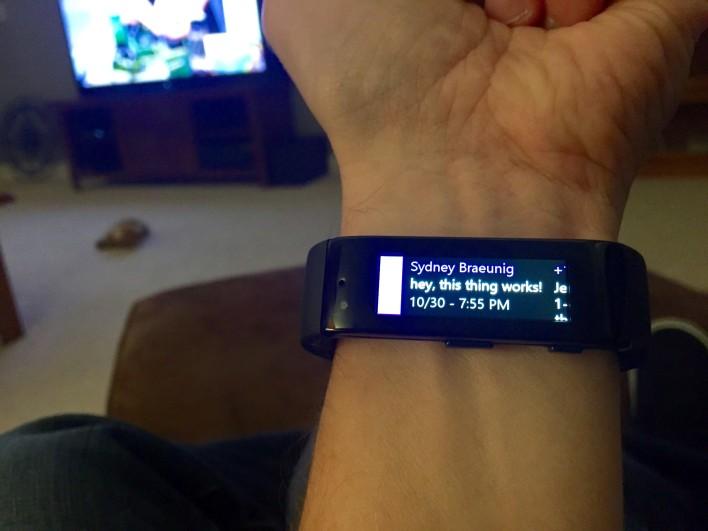 Microsoft Band incoming text