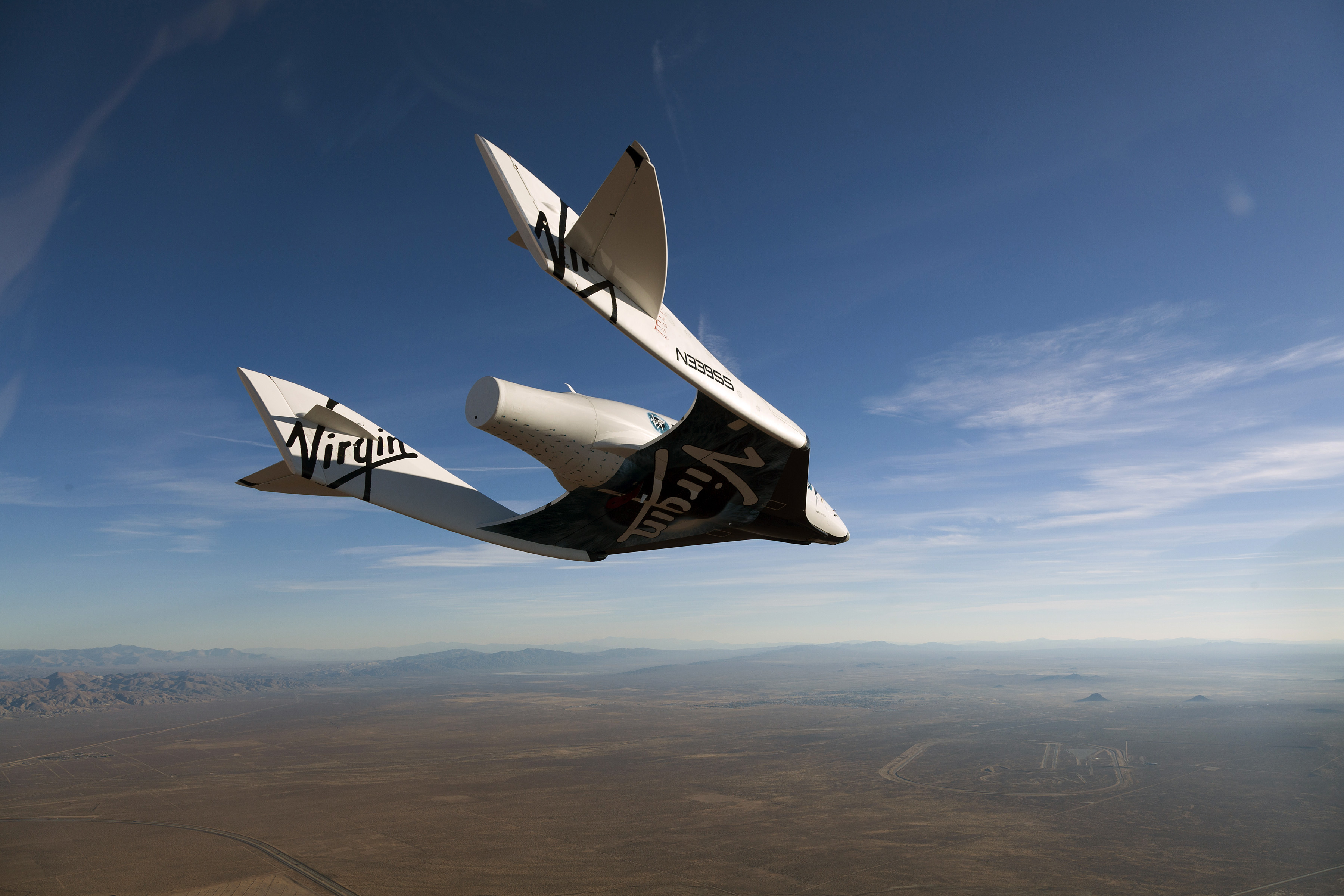 Virgin Galactic vehicle SpaceShipTwo completes it's successful first glide flight at Mojave on October 10, 2010 over Mojave in California. (Photo by Mark Greenberg/Virgin Galactic/Getty Images)