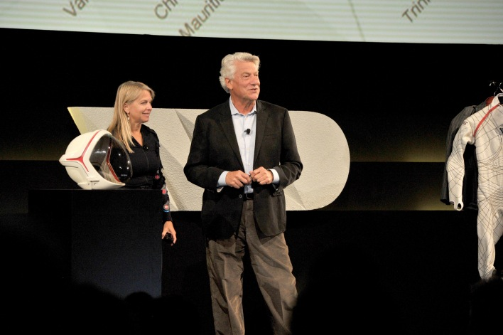"Dava Newman and Gui Trotti talk about ""Designing for Space Travel,"" image courtesy of Lester Cohen/Getty Images for WIRED."