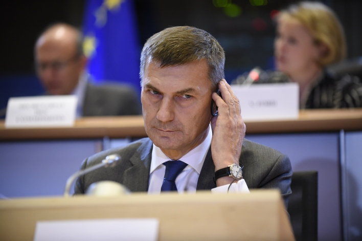 Estonian vice-President designate of Digital Single Market Andrus Ansip answers questions during his hearing at the European Parliament in Brussels on October 6, 2014. (Photo by John Thys/AFP/Getty Images)