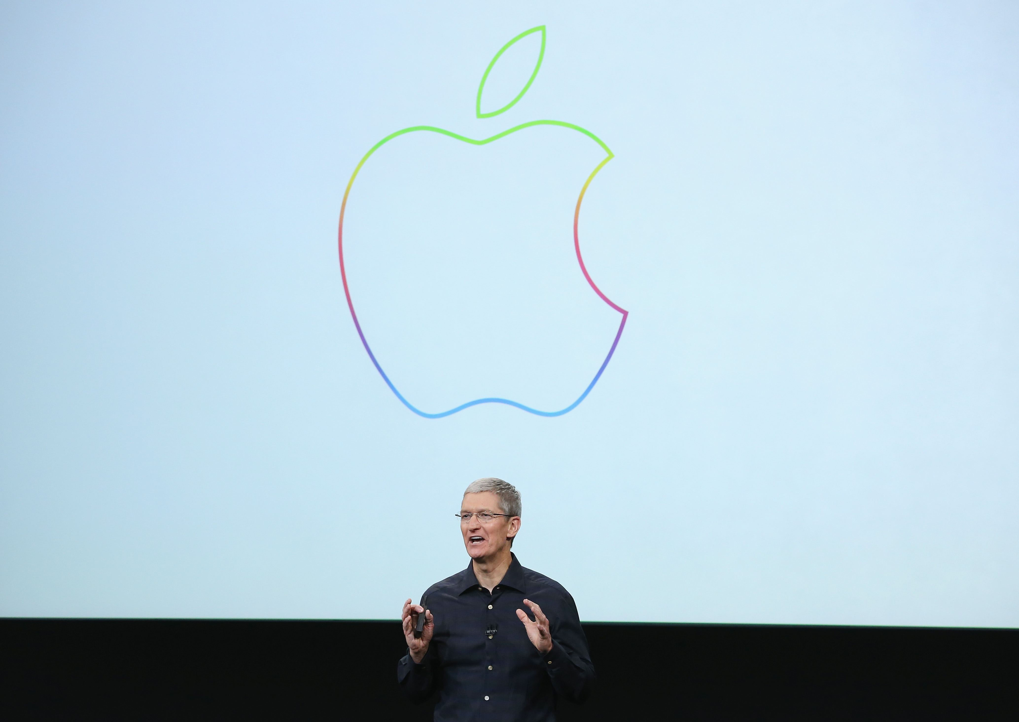 Apple CEO Tim Cook speaks during an event introducing new iPads at Apple's headquarters October 16, 2014 in Cupertino, California.  (Photo by Justin Sullivan/Getty Images)