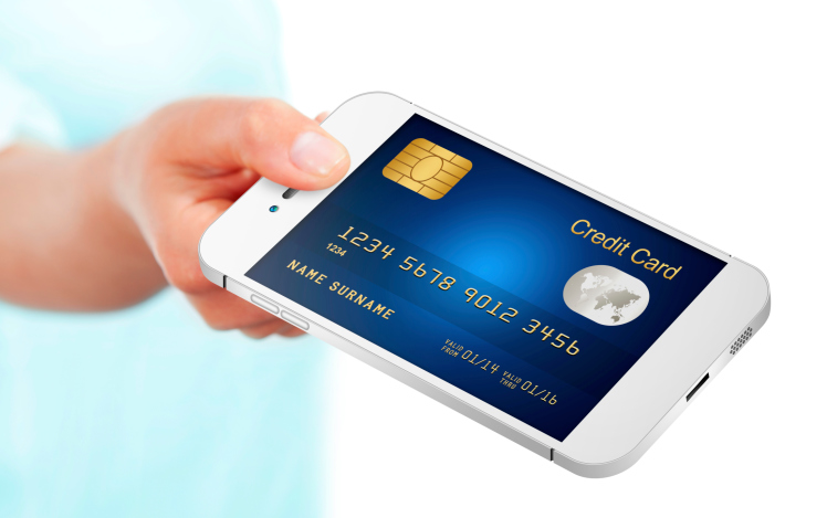 credit card on a smartphone mobile payments gerneric
