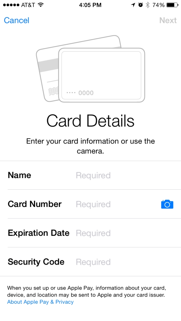 apple pay blank card details
