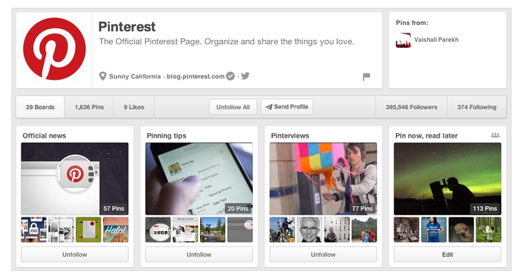 Old Pinterest profile page