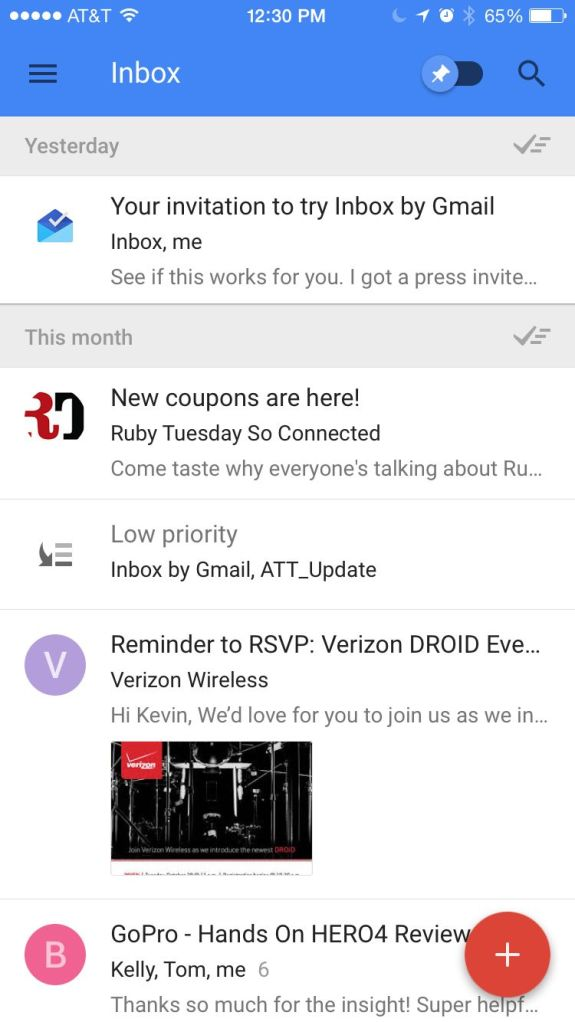 Inbox for Gmail main screen