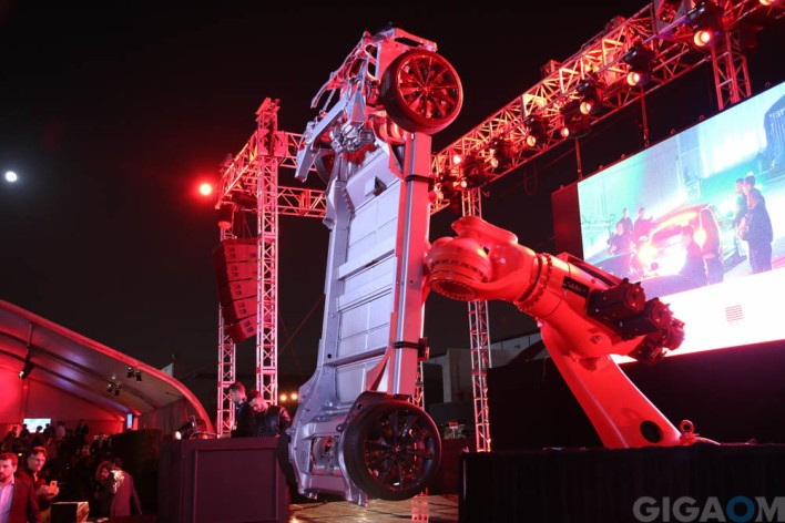 The core of the Model D, at the Tesla launch event. Image courtesy of Gigaom, Katie Fehrenbacher.