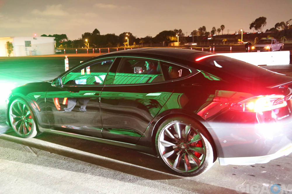 Tesla offered up the P85D, basically a souped up Model S, for test drives
