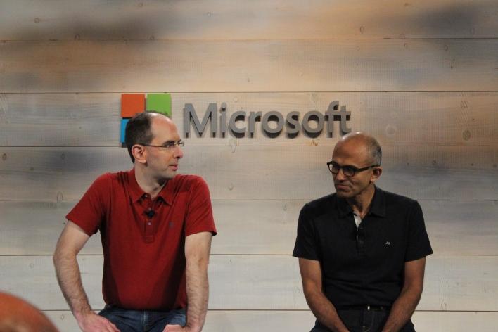 Microsoft EVP Scott Guthrie and CEO Satya Nadella. Credit: Jonathan Vanian / Gigaom