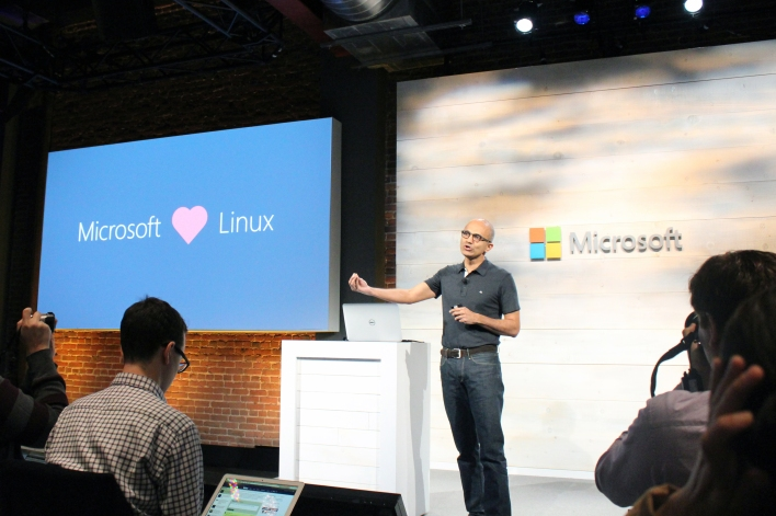Microsoft CEO Satya Nadella speaks at a Microsoft cloud event. Photo by Jonathan Vanian/Gigaom