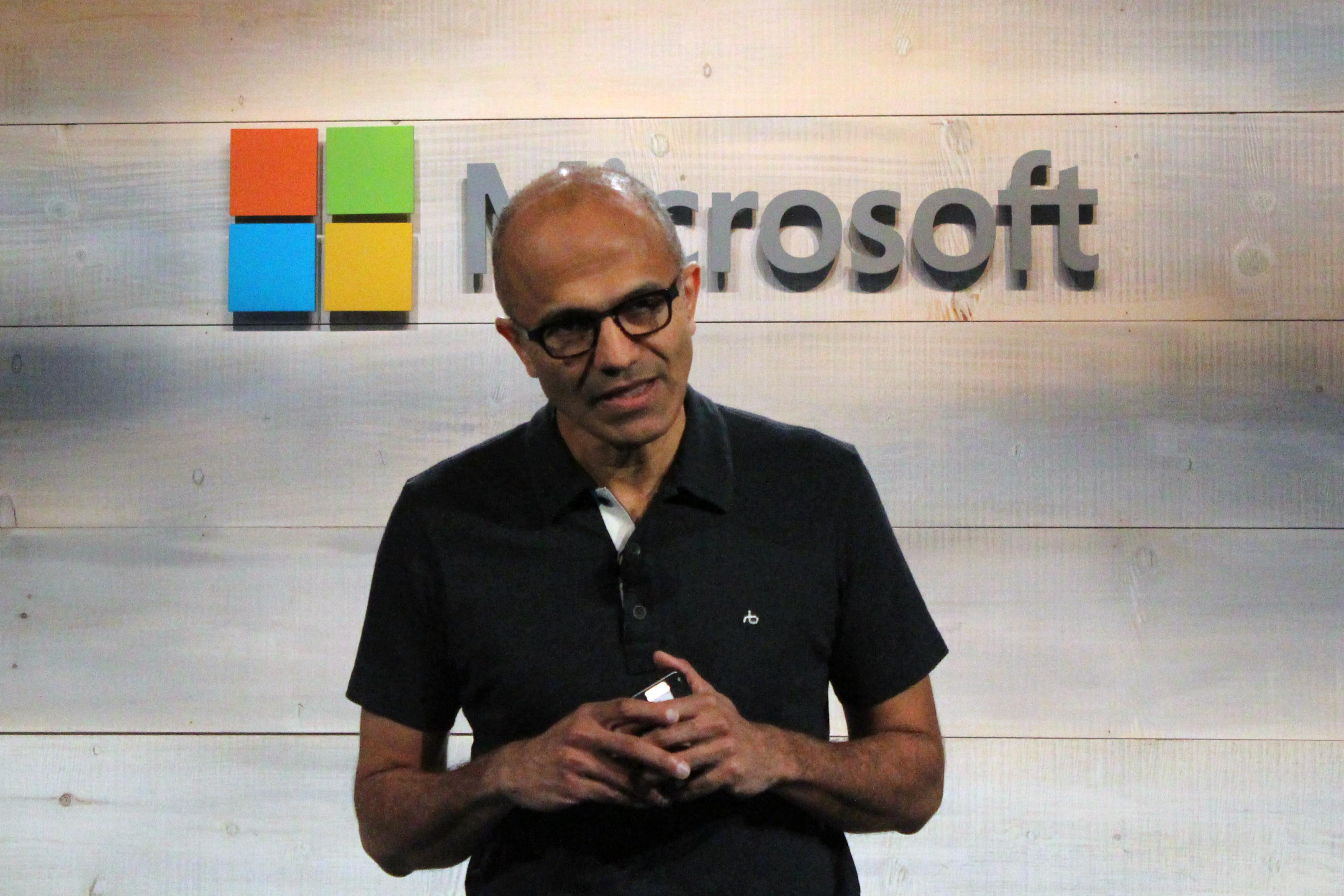 Microsoft CEO Satya Nadella speaks at a Microsoft cloud event. Photo by Jonathan Vanian/Gigaom