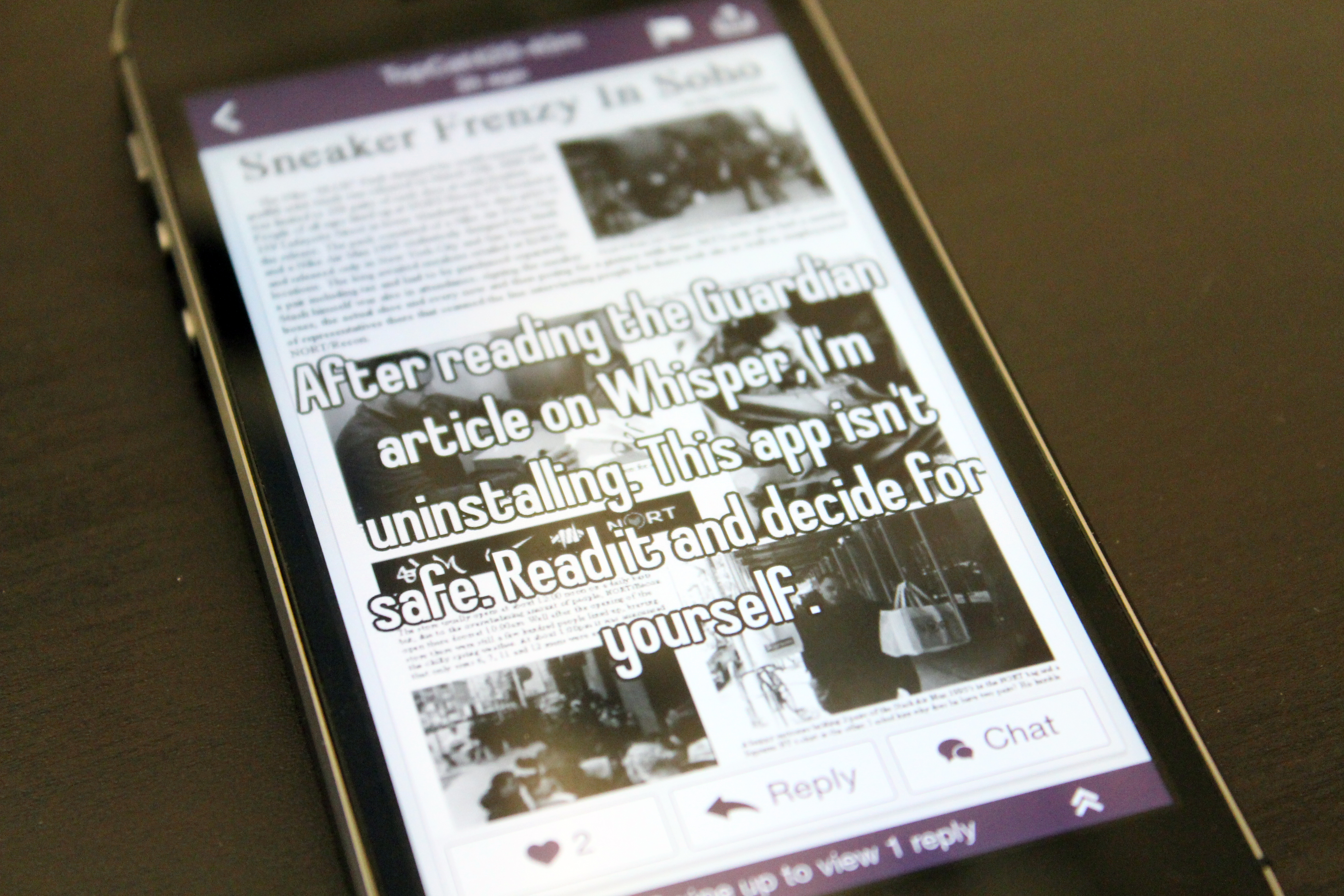 An anonymous secret on Whisper discusses the Guardian's article. Photo by Biz Carson/Gigaom