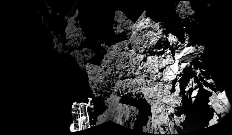 The first two images from Philae confirmed it safely reached the comet's surface. The probe's foot is visible in the bottom left corner.