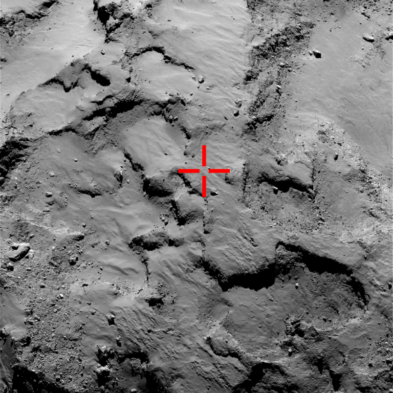 The red marker pinpoints the spot where Philae is believed to have landed.