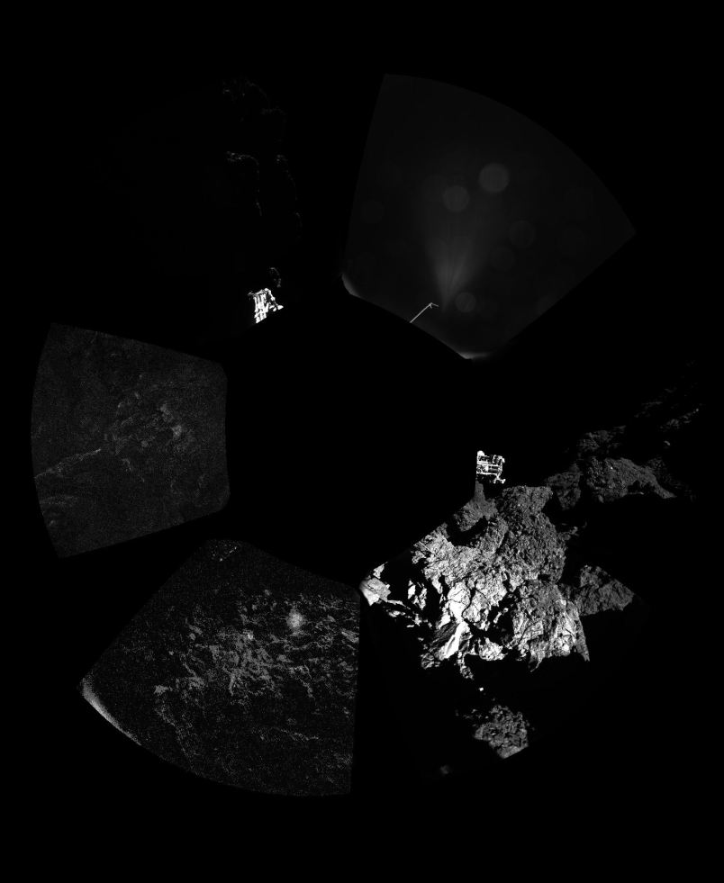 The first panoramic image from Philae shows a full circle of rocky ground surrounding it.