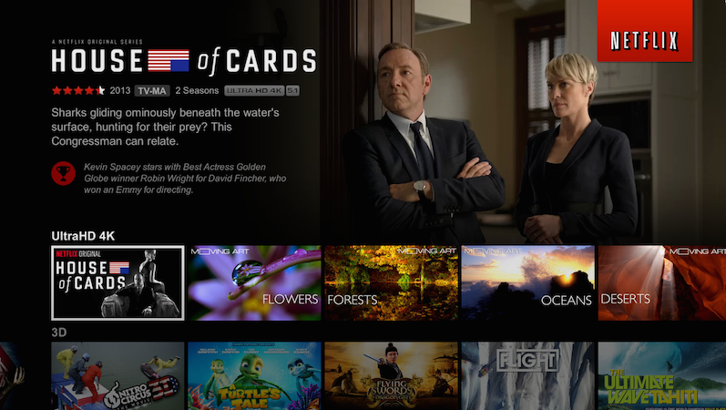 """Netflix shot, and streams, """"House of Cards"""" in 4K."""