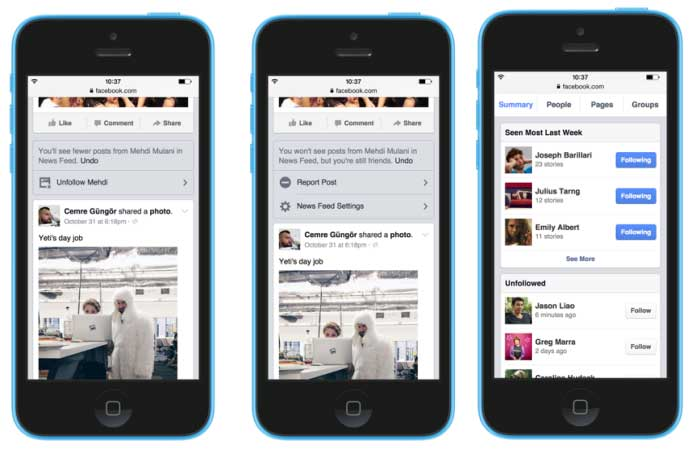 Screenshots from Facebook's new newsfeed control features