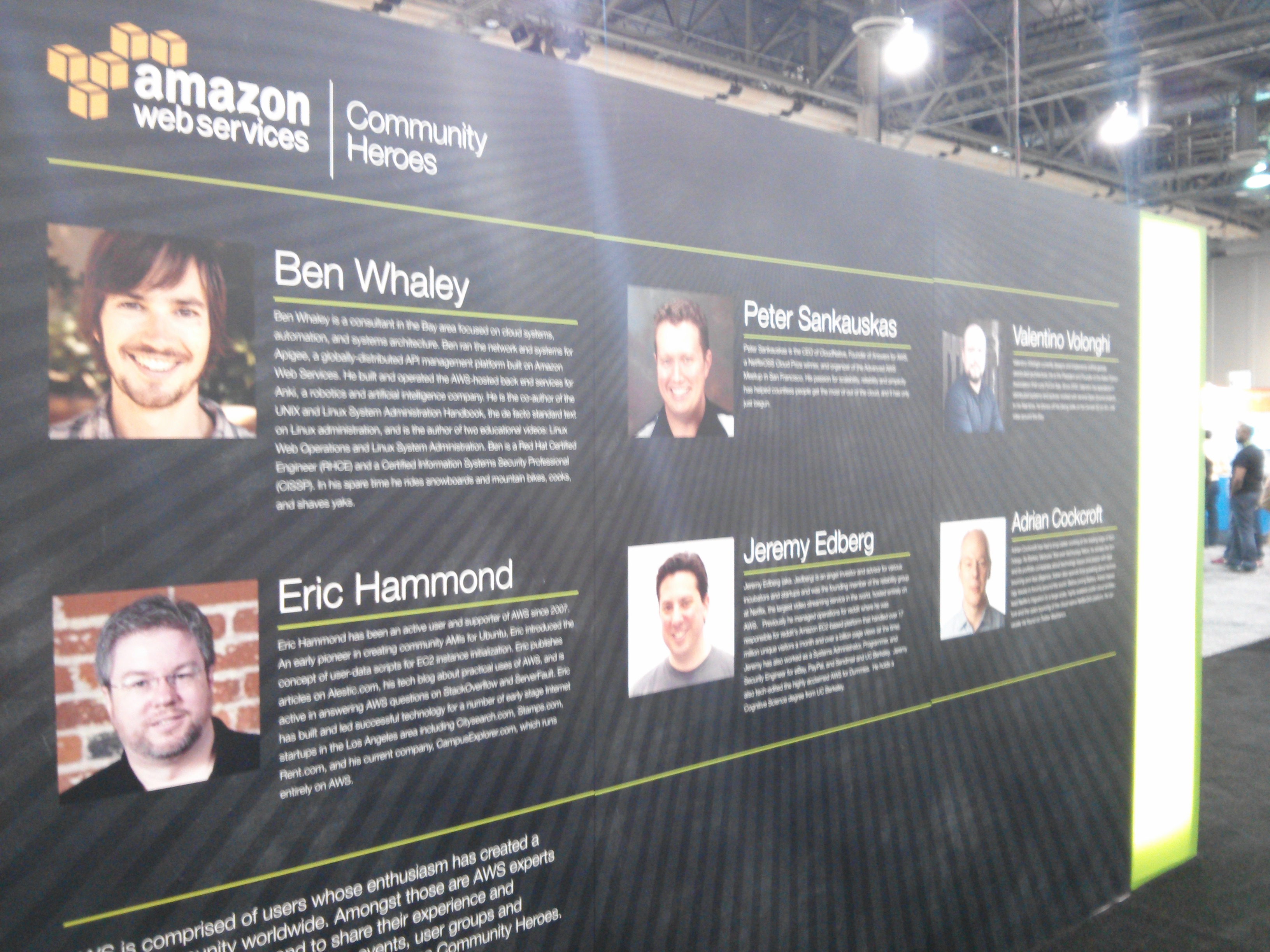 """Amazon Web Services' """"Cloud Heroes."""" Adrian Cockroft used to head up the Netflix cloud team, and Jeremy Edberg does now."""