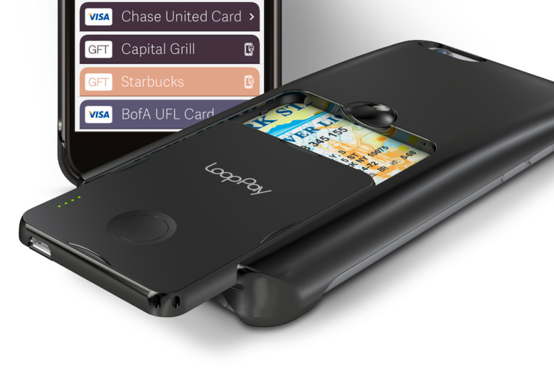 """LoopPay's most recent iPhone 6 sleeve with detachable """"card"""" module"""