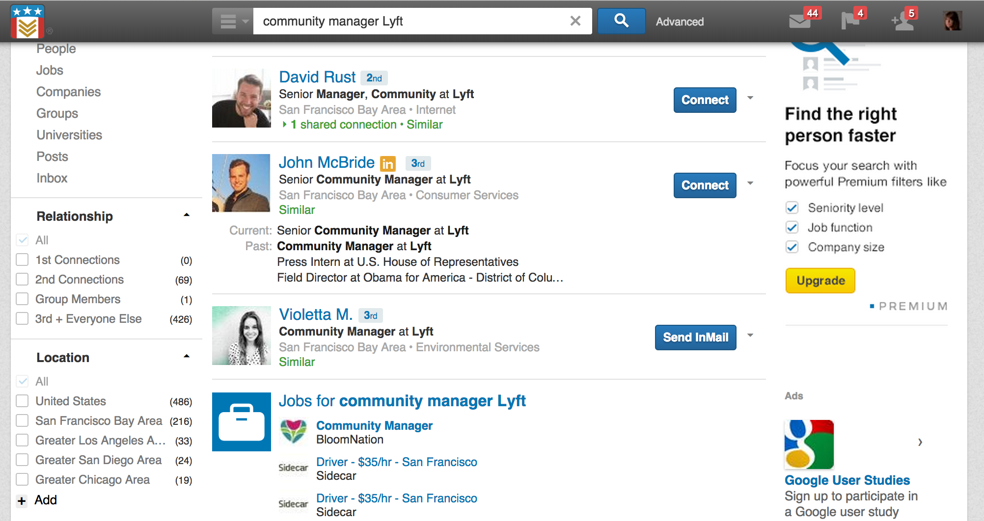 "What appears when you search LinkedIn for ""Community manager [insert company here"""