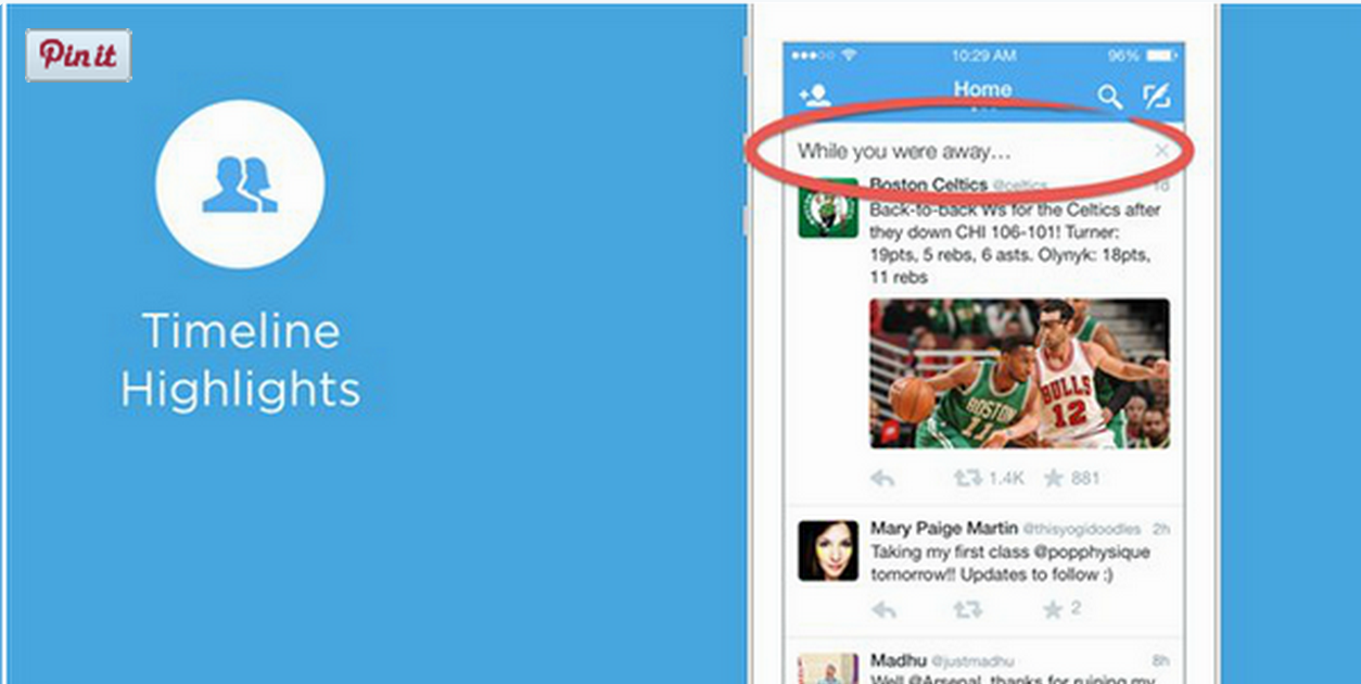 """Screenshot of Twitter's """"While you were away"""" feature"""