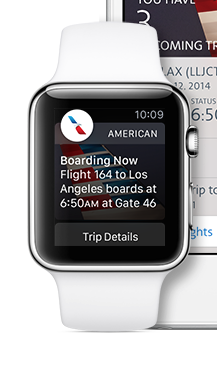 An example of a WatchKit app from American Airlines