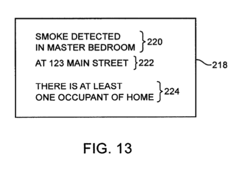 An example of a notification from the patent application