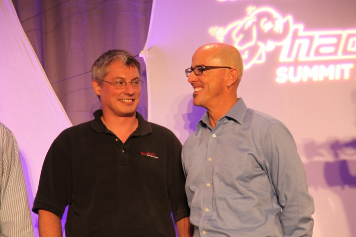 Raymie Stata (left) and former Yahoo EVP and Chief Product Officer Blake Irving at the Yahoo-sponsored Hadoop Summit in 2010. Source: Yahoo
