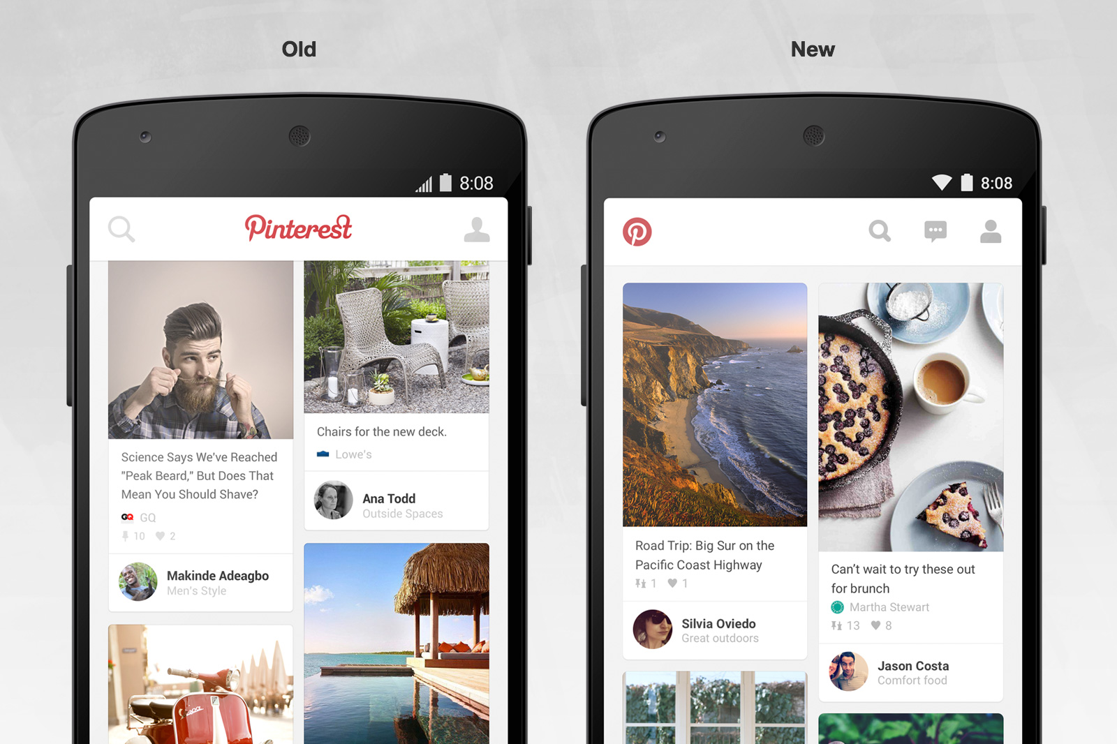Screenshots of Pinterest Android redesign. Before: Left; After: Right